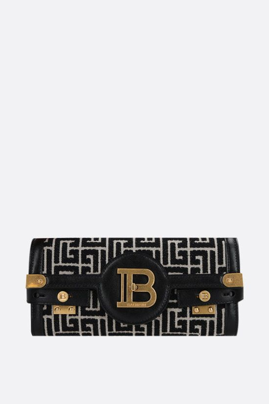 BALMAIN: B-Buzz 23 jacquard clutch Color White_1