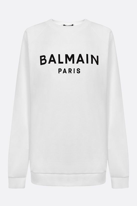 BALMAIN: Balmain logo print cotton sweatshirt Color Grey_1