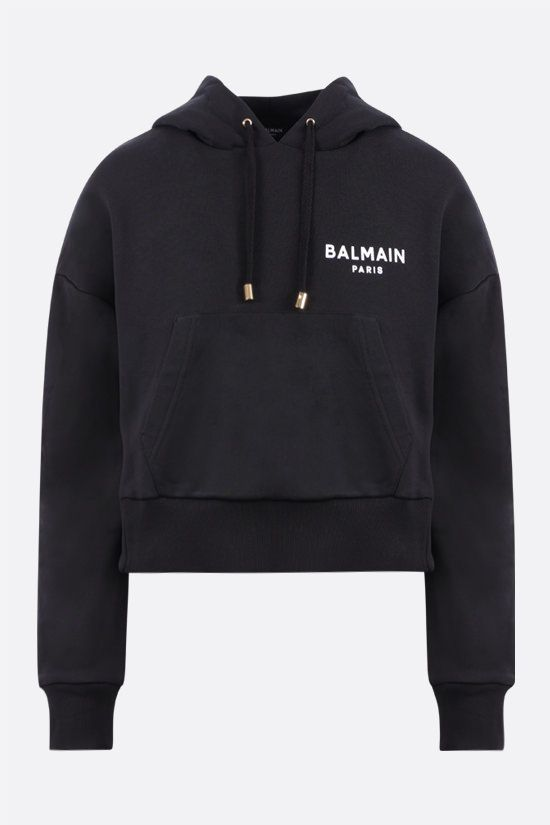 BALMAIN: Balmain logo print cropped cotton hoodie Color Black_1