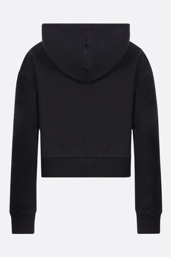 BALMAIN: Balmain logo print cropped cotton hoodie Color Black_2