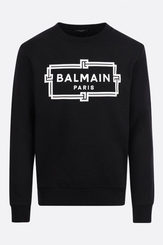 BALMAIN: logo print cotton sweatshirt Color Black_1