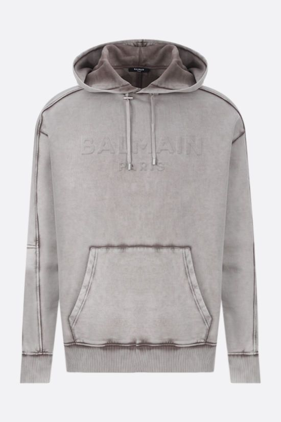 BALMAIN: logo-detailed cotton hoodie Color Grey_1