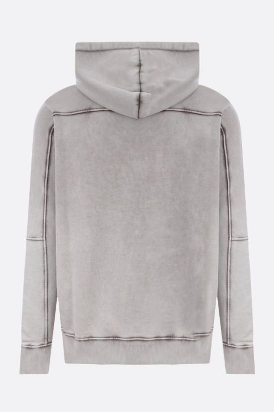 BALMAIN: logo-detailed cotton hoodie Color Grey_2