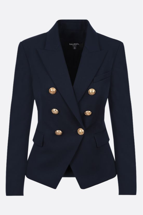 BALMAIN: double-breasted wool jacket Color Blue_1