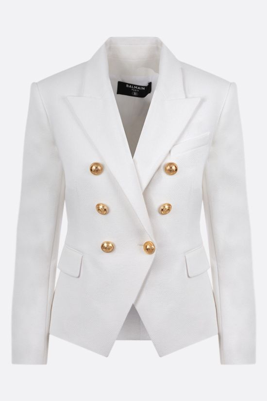 BALMAIN: double-breasted cotton jacket Colore Bianco_1