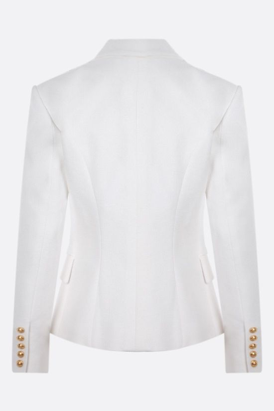 BALMAIN: double-breasted cotton jacket Color White_2