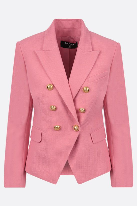 BALMAIN: double-breasted cotton jacket Color Pink_1