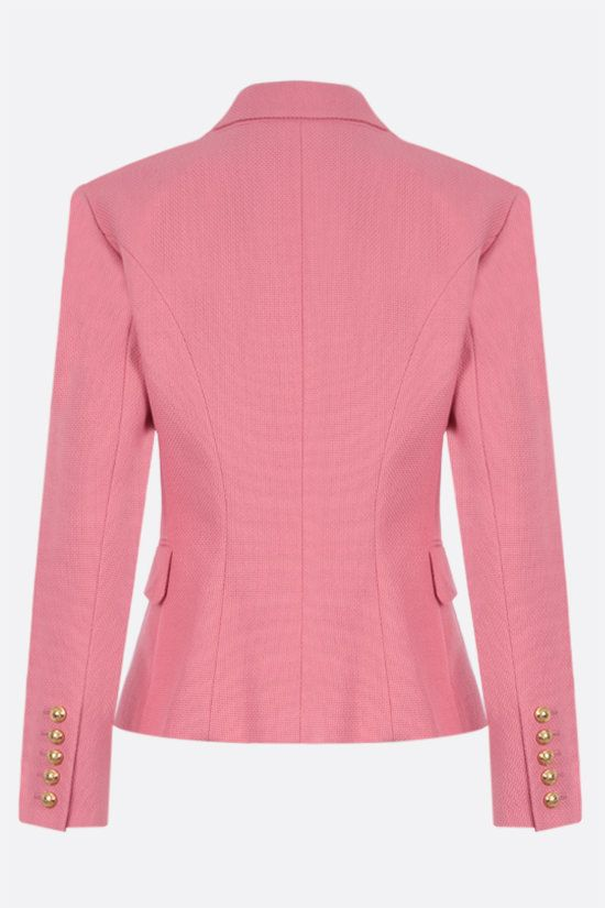 BALMAIN: double-breasted cotton jacket Color Pink_2