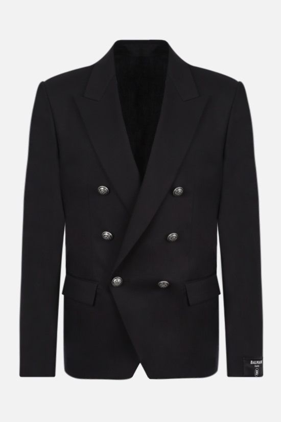 BALMAIN: double-breasted cotton blend jacket Color Black_1