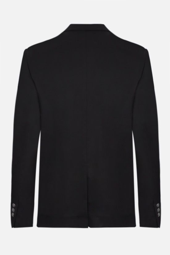 BALMAIN: double-breasted cotton blend jacket Color Black_2