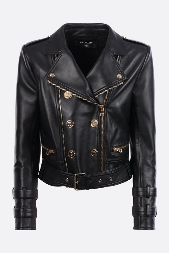 BALMAIN: soft nappa biker jacket Color Black_1