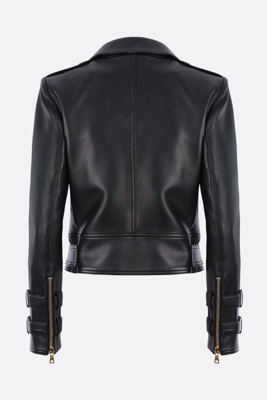 BALMAIN: soft nappa biker jacket Color Black_2