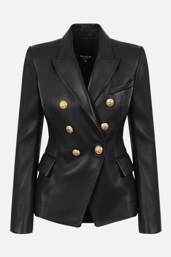 BALMAIN: double-breasted soft nappa jacket Color Black_1