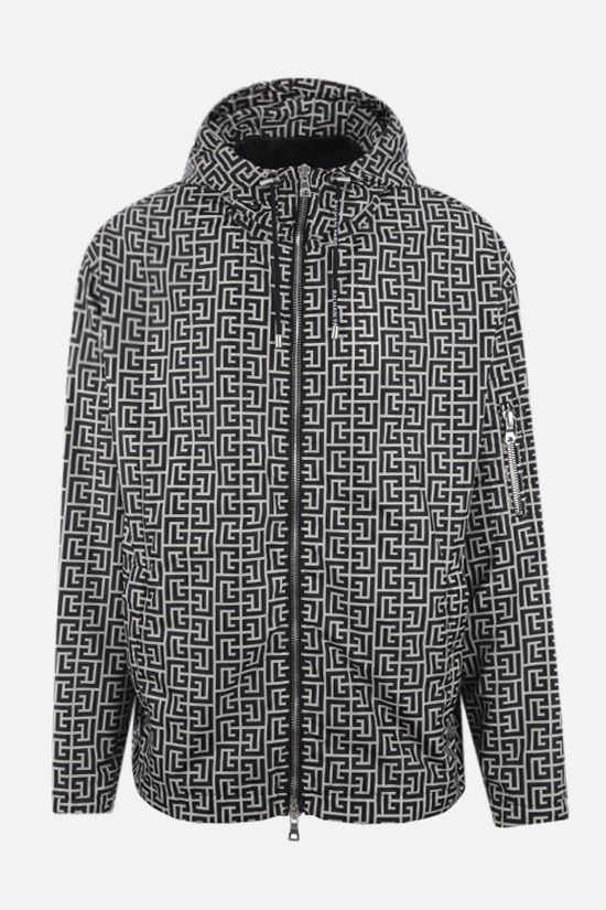 BALMAIN: Balmain monogram print nylon windbreaker Color Neutral_1