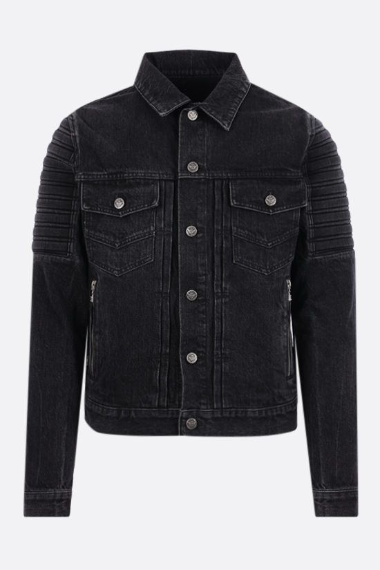BALMAIN: raising logo denim jacket Color Black_1