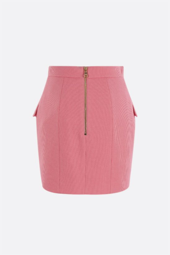 BALMAIN: button-detailed cotton miniskirt Color Pink_2