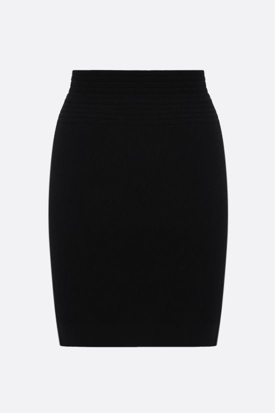 BALMAIN: ribbed stretch knit miniskirt Color Black_1