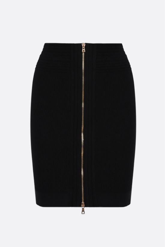 BALMAIN: ribbed stretch knit miniskirt Color Black_2