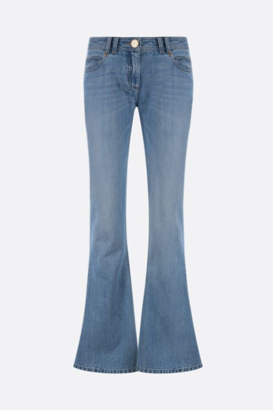 BALMAIN: logo-detailed flared jeans Color Blue_1