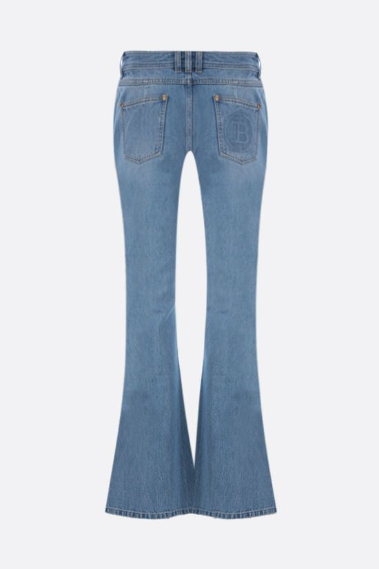 BALMAIN: logo-detailed flared jeans Color Blue_2
