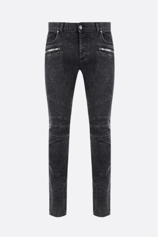 BALMAIN: slim-fit biker jeans Color Black_1