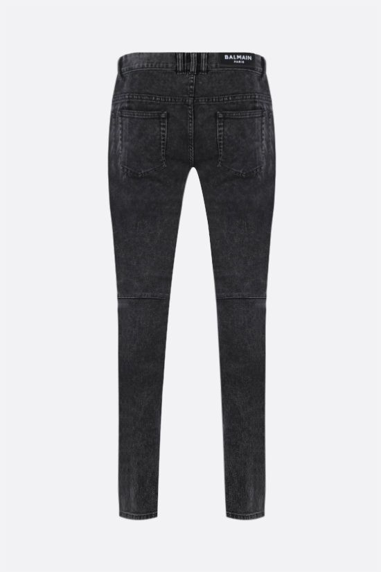 BALMAIN: slim-fit biker jeans Color Black_2