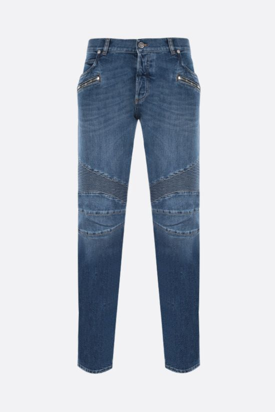 BALMAIN: distressed-effect biker jeans Color Blue_1