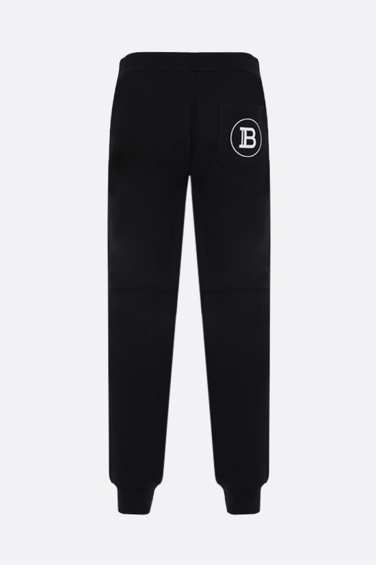 BALMAIN: Balmain logo print cotton joggers Color Black_2