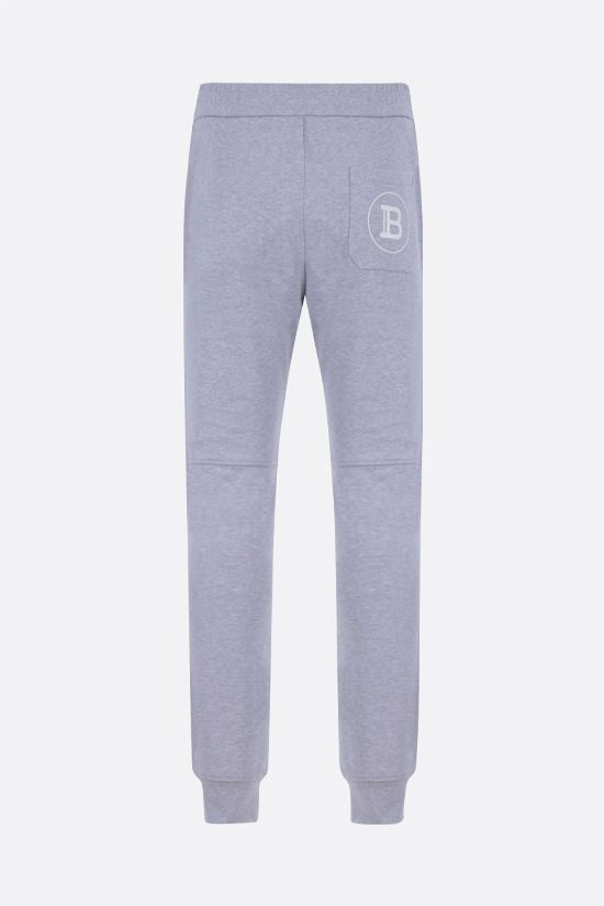 BALMAIN: Balmain logo print cotton joggers Color Grey_2