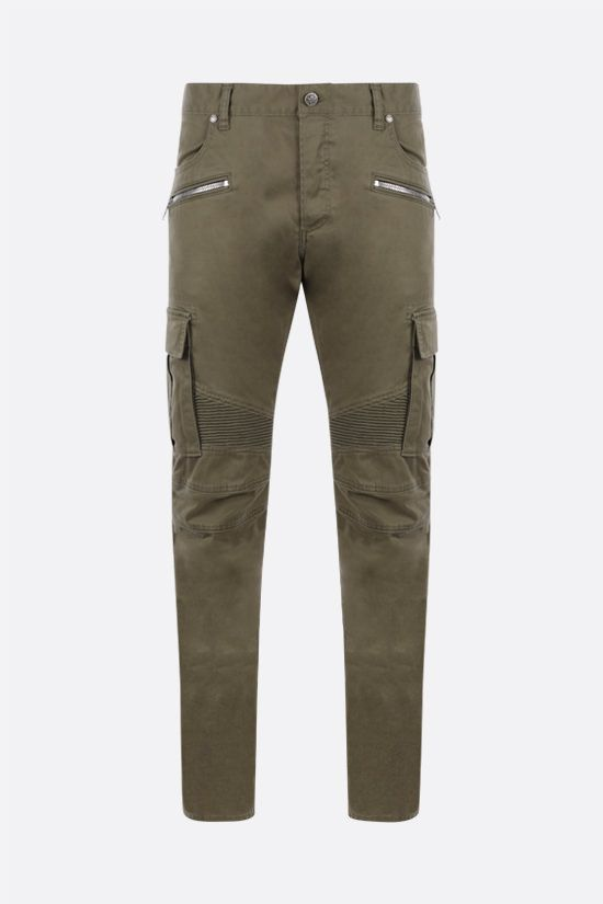 BALMAIN: stretch cotton cargo pants Color Brown_1