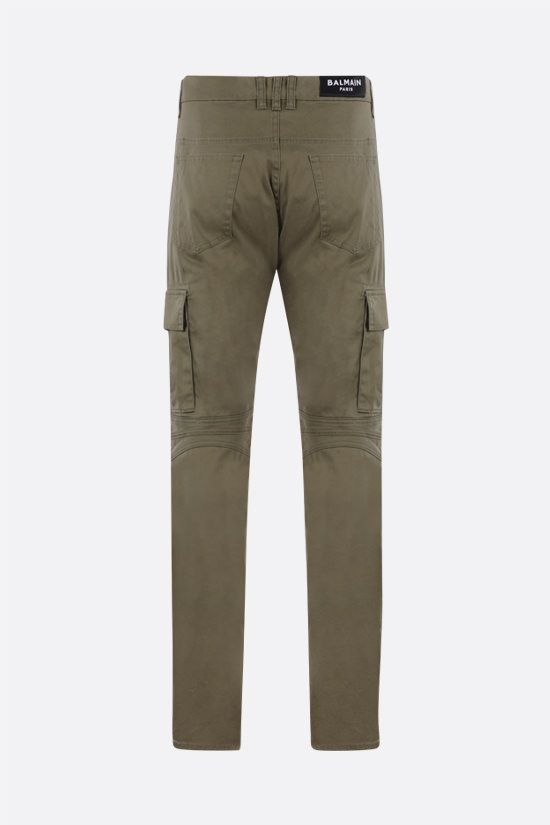 BALMAIN: stretch cotton cargo pants Color Brown_2