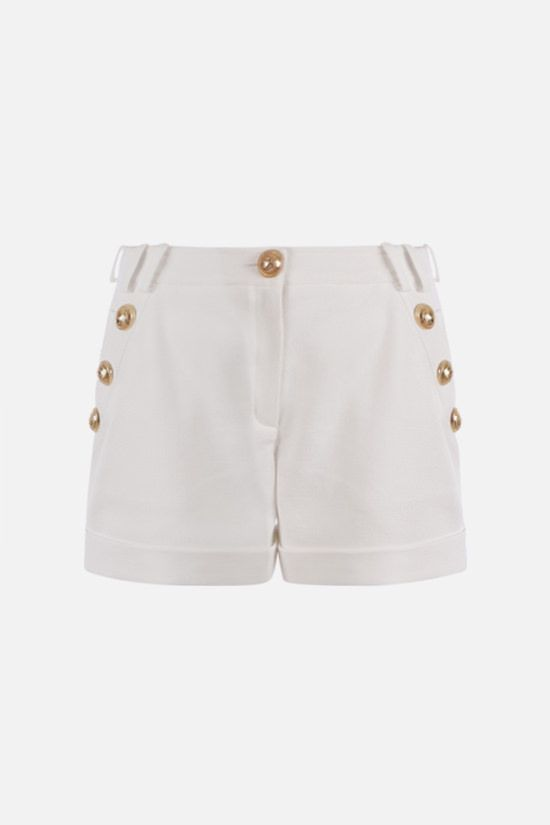 BALMAIN: button-detailed cotton shorts Color White_1