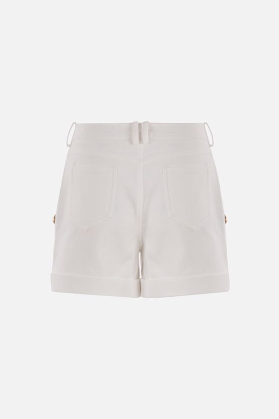 BALMAIN: button-detailed cotton shorts Color White_2