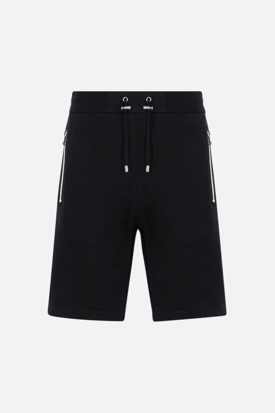 BALMAIN: logo-detailed cotton shorts Color Black_1