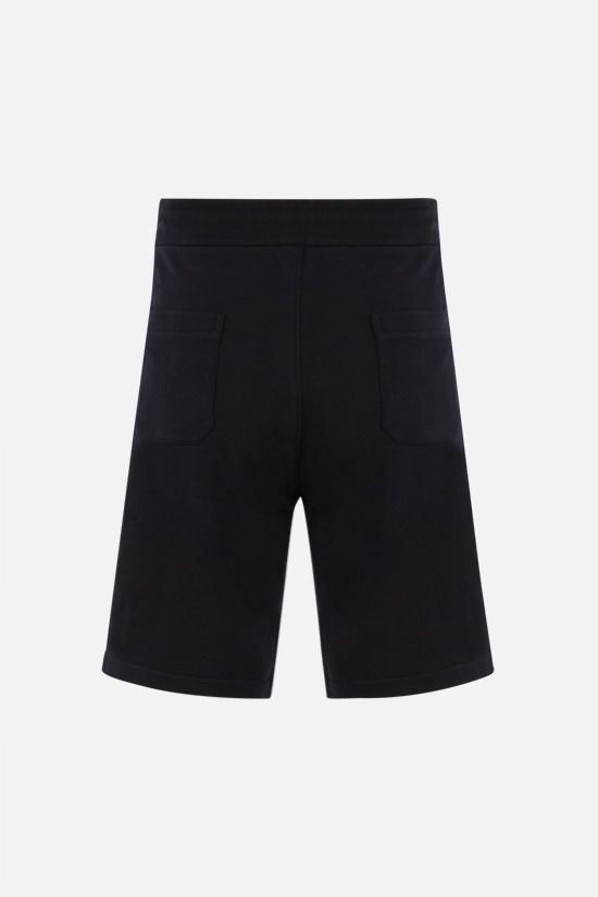 BALMAIN: logo-detailed cotton shorts Color Black_2