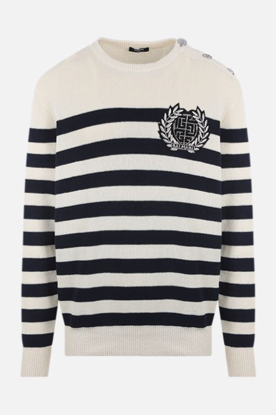 BALMAIN: logo patch striped technical cotton pullover Color Neutral_1