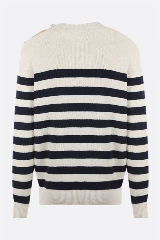 BALMAIN: logo patch striped technical cotton pullover Color Neutral_2