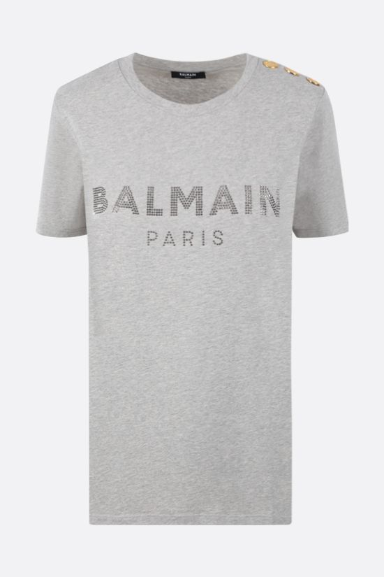 BALMAIN: rhinestone logo cotton t-shirt Color Grey_1