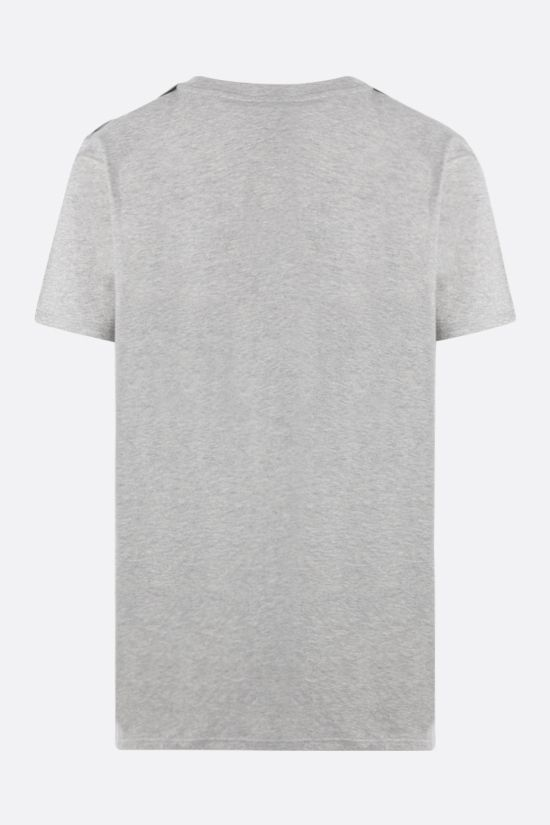 BALMAIN: rhinestone logo cotton t-shirt Color Grey_2