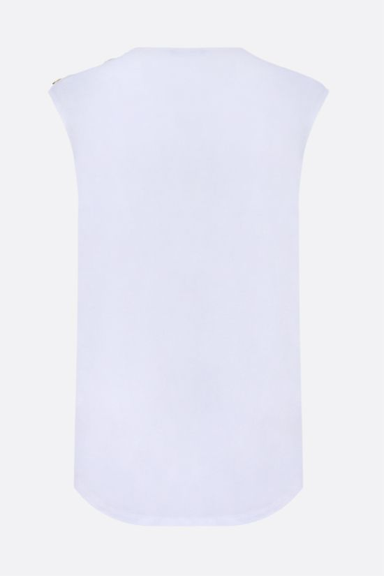 BALMAIN: Balmain logo print cotton sleeveless t-shirt Color Grey_2