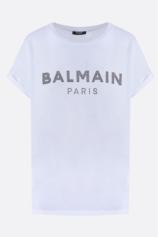 BALMAIN: Balmain logo-embellished cotton t-shirt Color Grey_1