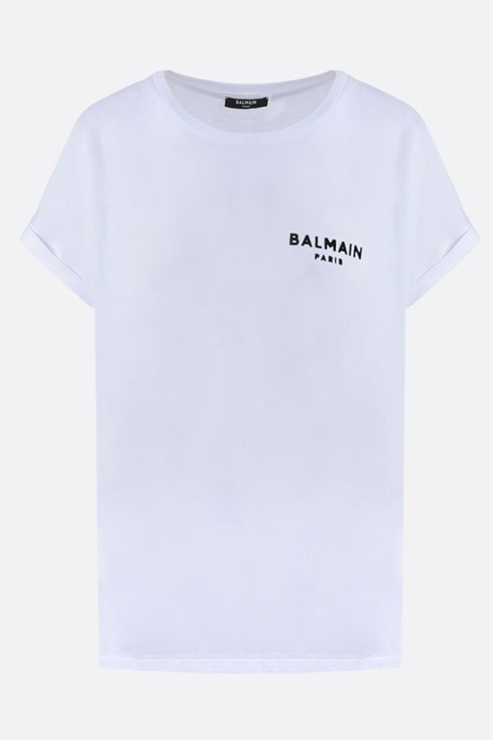 BALMAIN: Balmain logo print cotton t-shirt Color Grey_1