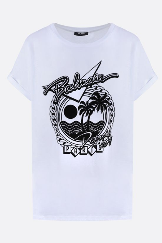 BALMAIN: graphic logo print cotton t-shirt Color Grey_1