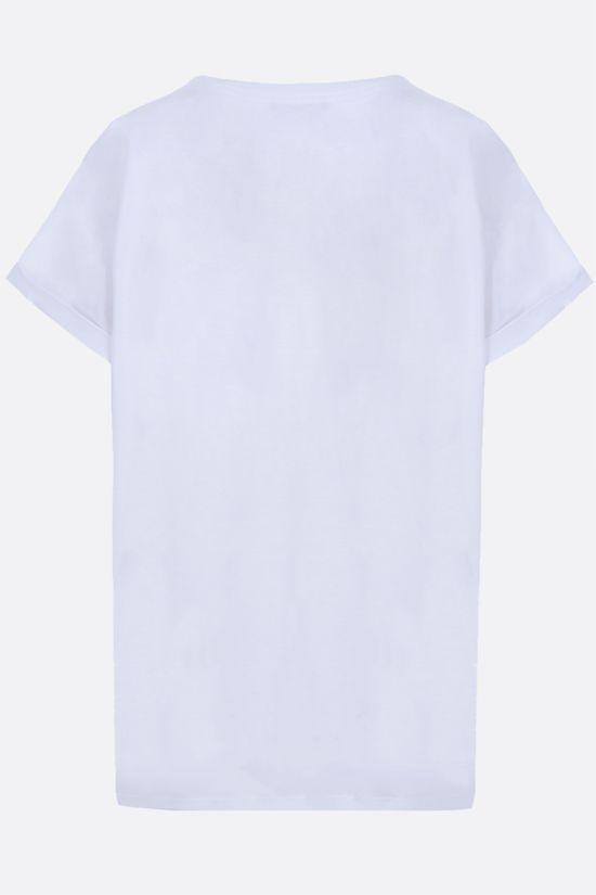 BALMAIN: graphic logo print cotton t-shirt Color Grey_2