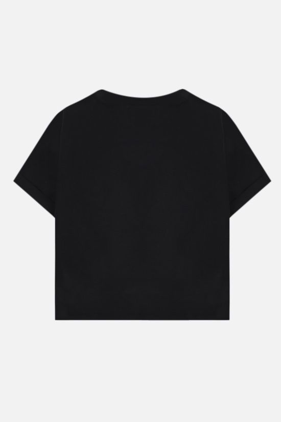 BALMAIN: Balmain logo print cotton cropped t-shirt Color Black_2