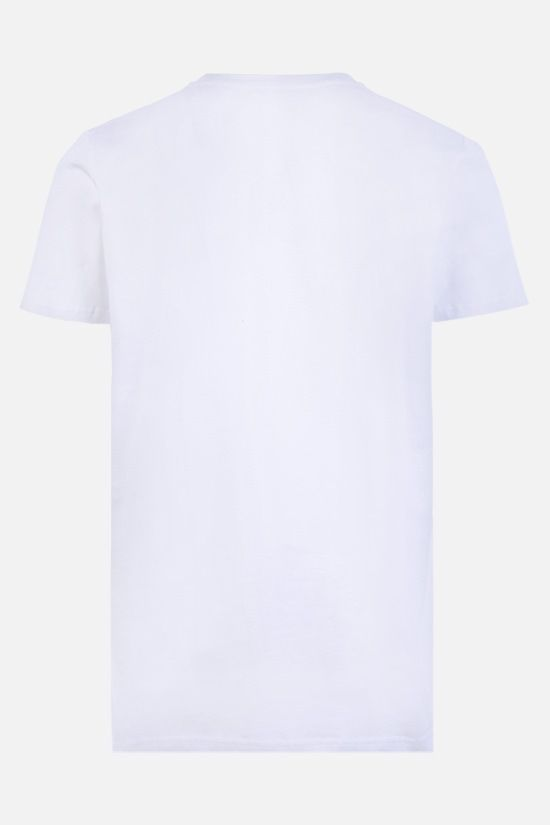 BALMAIN: logo print cotton t-shirt Color White_2