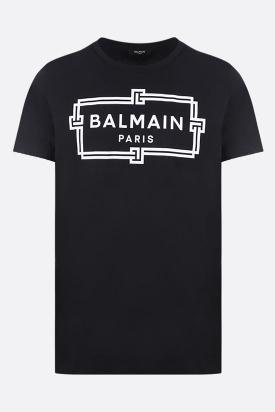 BALMAIN: logo print cotton t-shirt Color Black_1