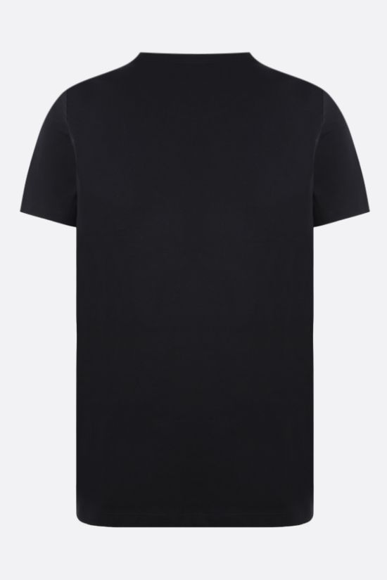 BALMAIN: logo print cotton t-shirt Color Black_2