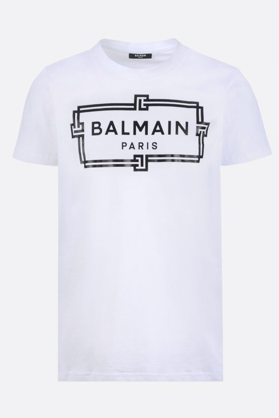 BALMAIN: logo print cotton t-shirt Color White_1
