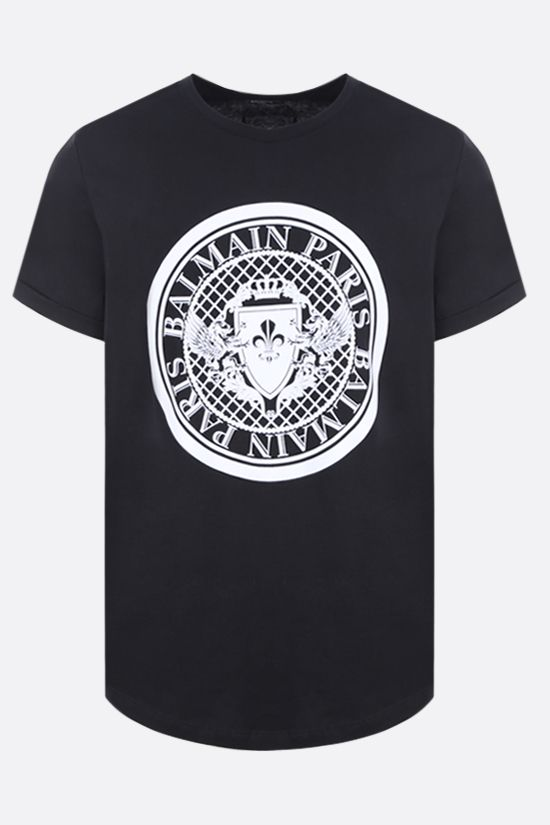 BALMAIN: Balmain medallion print cotton t-shirt Color Black_1